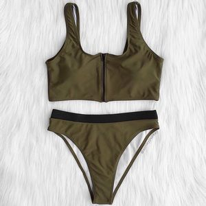 ❤️SALE❤️ Army green zip up high waisted bikini set